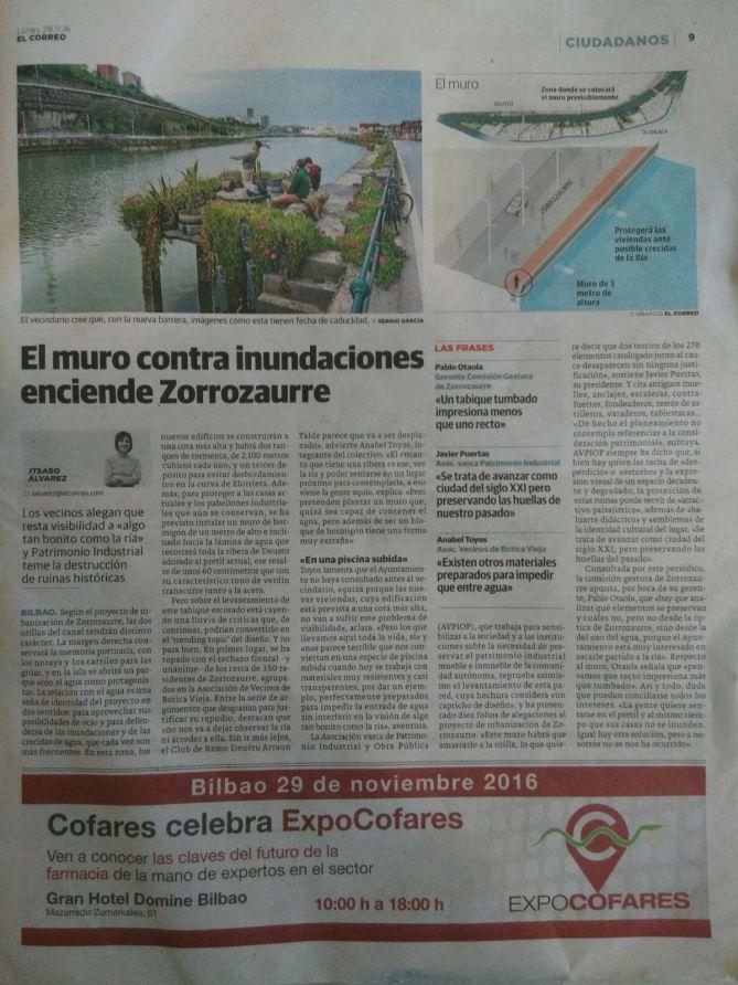 Un artículo de la periodista Itsaso Álvarez en El Correo se hace eco de las alegaciones de AVPIOP a Zorrotzaurre