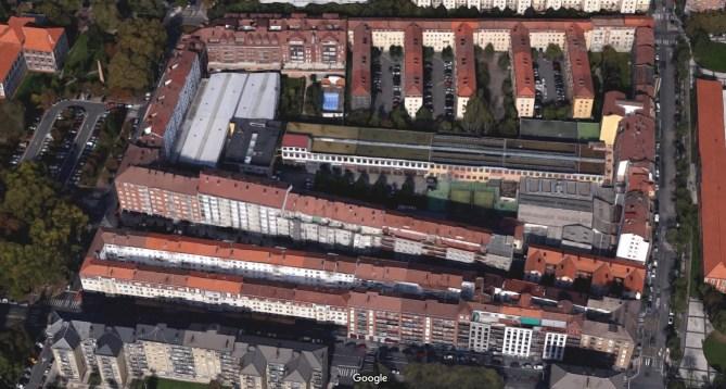 Vitoria-Gasteiz. Lo que queda de la antigua fábrica de Luis Iriondo en la actualidad, visto en Google Maps.