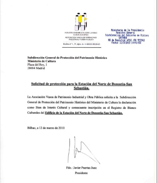 Copia sellada de la entrada del documento de solicitud de protección dirigido al Ministerio de Cultura