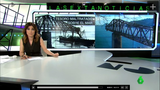 """La Sexta Noticias. Reportaje sobre el cargadero en """"cantiléver"""" de Dícido en Castro Urdiales (Cantabria) en riesgo. Emitido el 2 de febrero de 2017."""