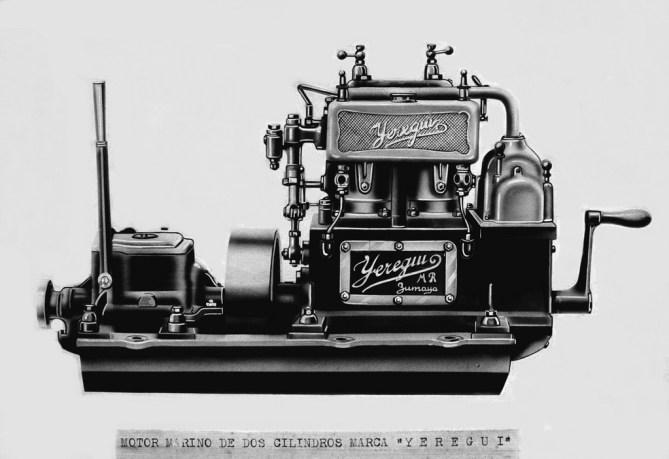 Motor Yeregui de dos cilindros fabricado en Zumaia (Foto ZIIZ)