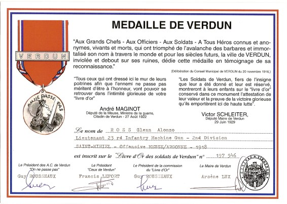 Medal of Verdun certificate no. 197 546, recognizing Glenn Alonzo ROSS, Lieutenant, 23rd Infantry Machine Gun Company, 2nd Division, AEF, for service in proximity to Verdun.