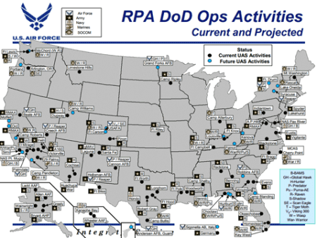 This map of drone bases shows the extent of their network - and it grows everyday