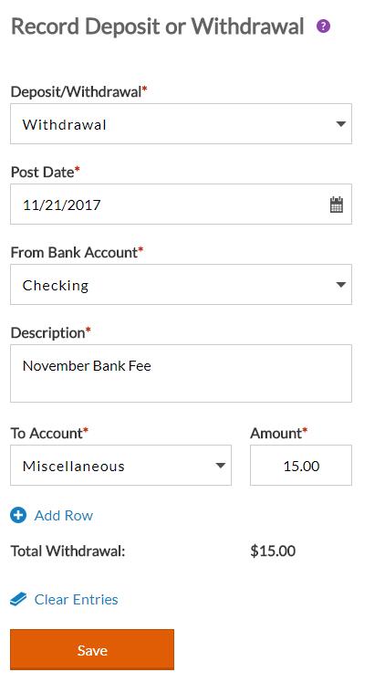 Entering a Deposit or Withdrawal