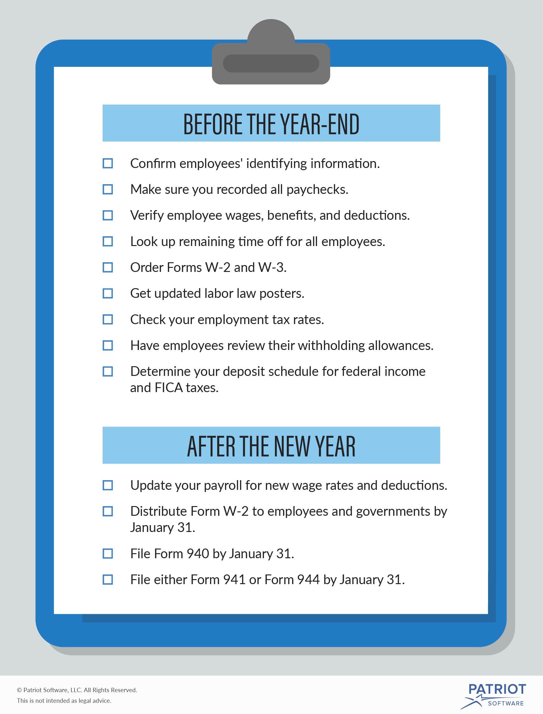 Year End Payroll Checklist