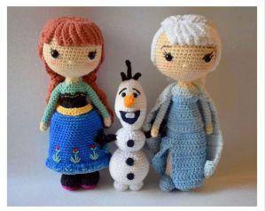 Elsa, Anna y olaf tejidos en amigurumi con patrón gratis