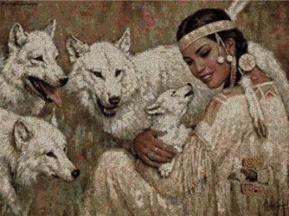 India con lobos en punto de cruz - Patrones gratis