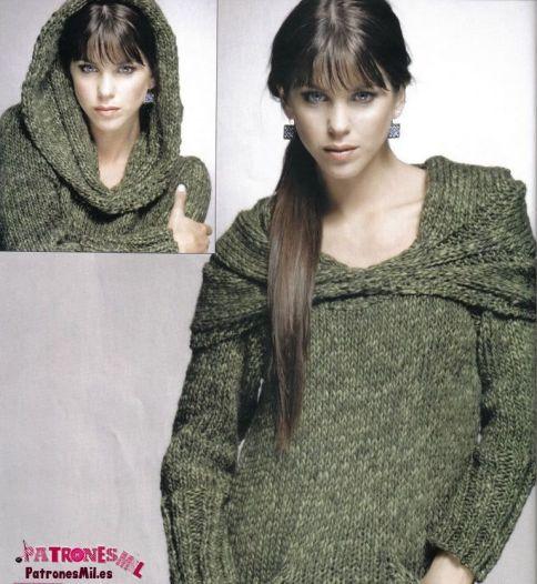 jersey de punto con capucha para mujer