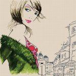 Mujer guapa y elegante a punto de cruz