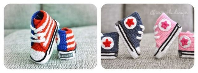 Patucos bebé All Star a crochet
