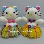 Hello kitty hawaiana en amigurumi