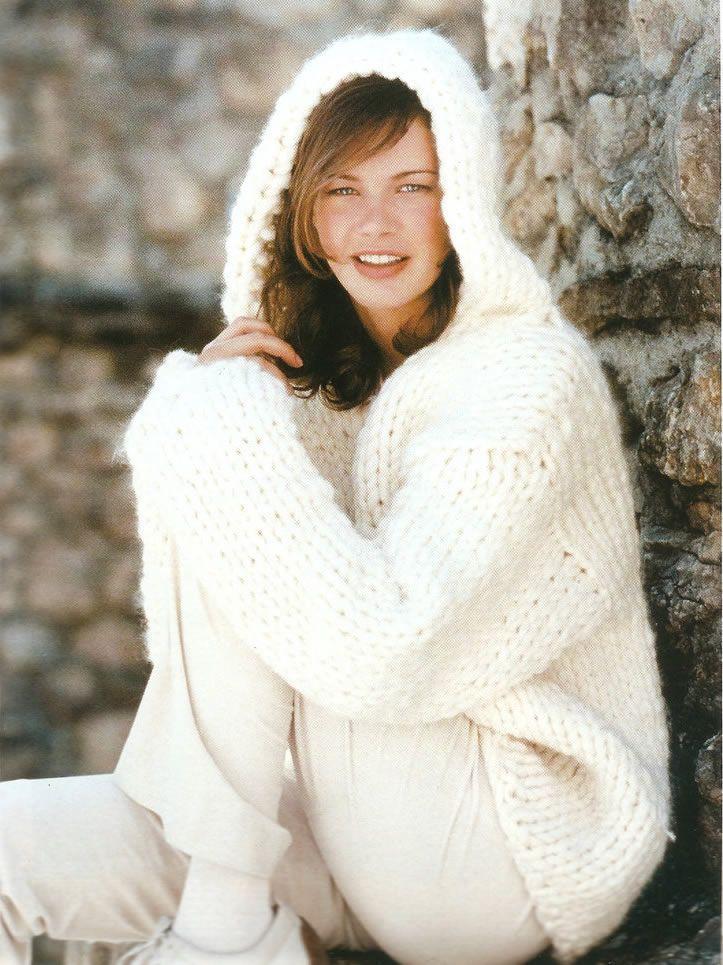Jersey blanco con capucha patrones gratis - Como hacer un jersey de punto ...