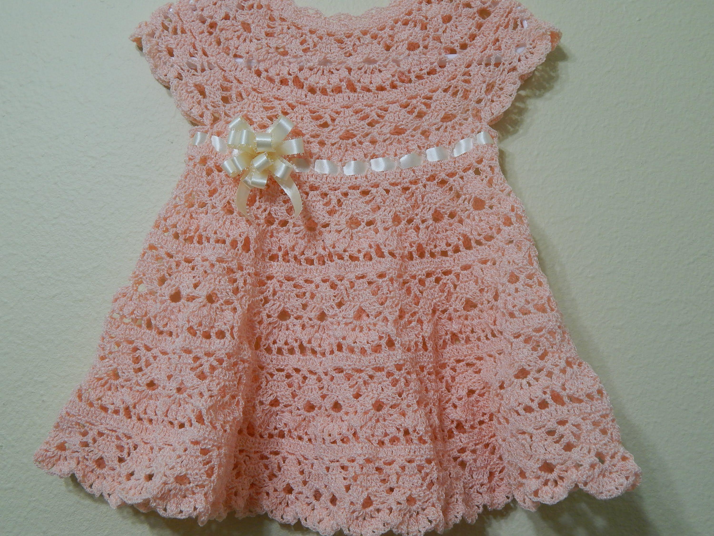 Vestido a crochet para bebe patrones gratis for Cosas de ganchillo faciles