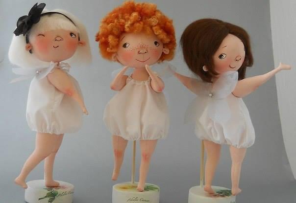 Muñecas trillizas en tela