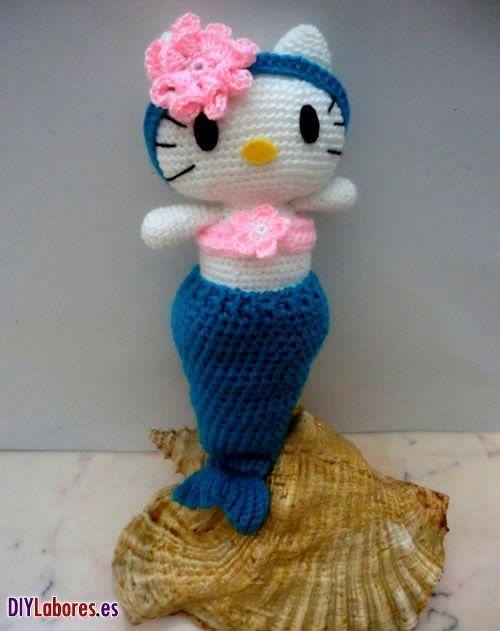 Hello Kitty sirenita en amigurumi - Patrones gratis