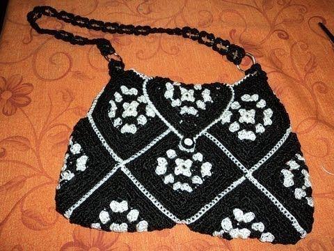 bolso con cuadros de crochet