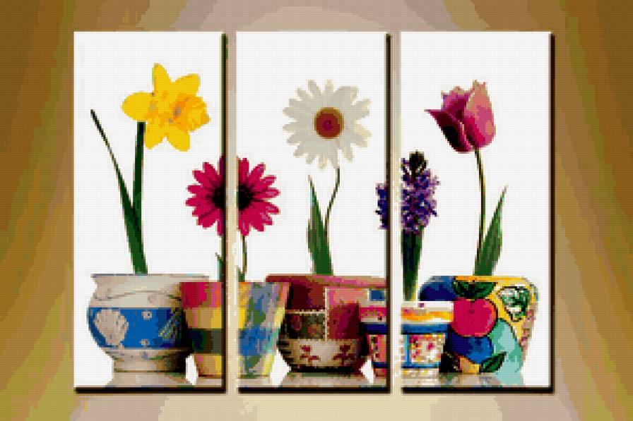 Triptico-plantas en macetas - Patrones gratis