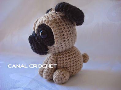 mini perro pug amigurumi