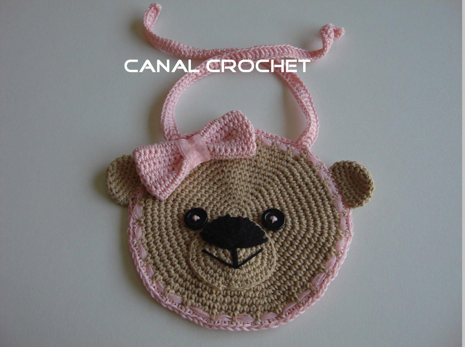 Babero osito a crochet - Patrones gratis
