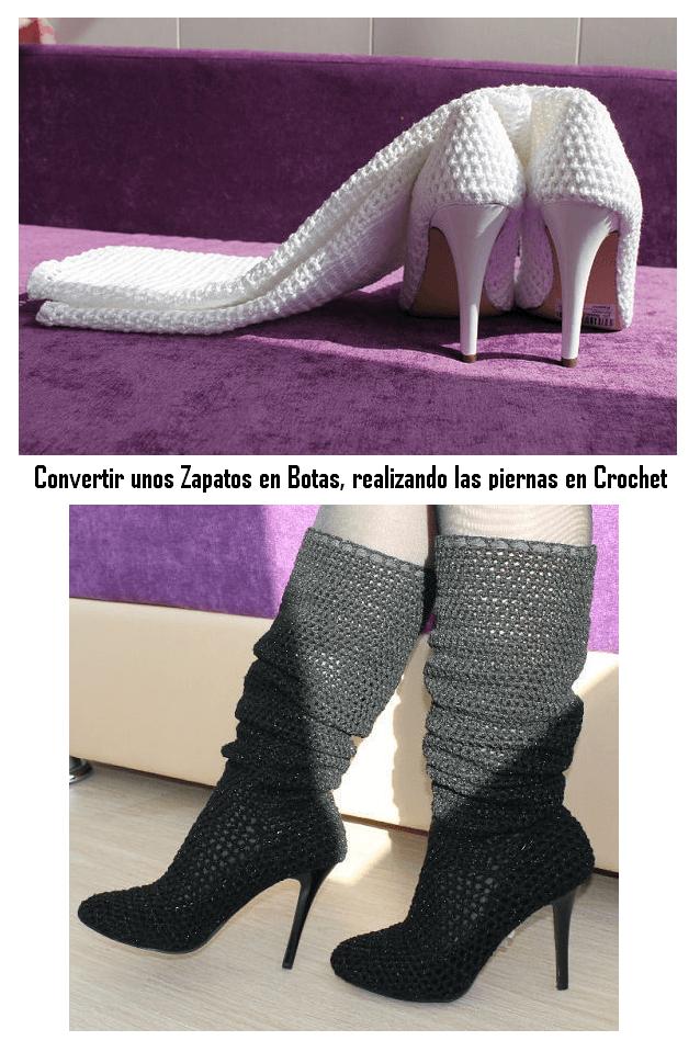 transformar unos Zapatos en Botas tejiendolas a crochet 1