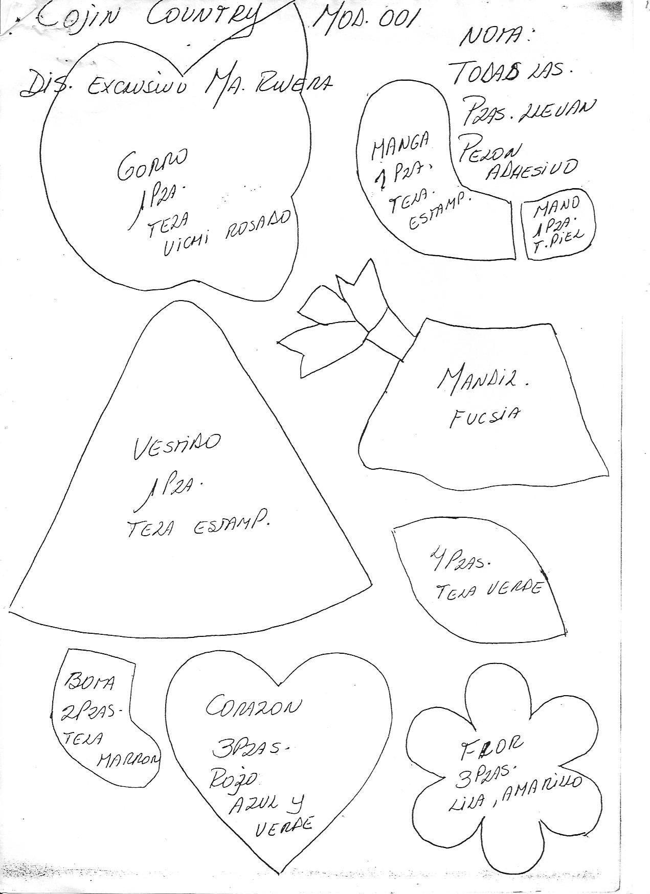 Cojin niña country patchwork - Patrones gratis
