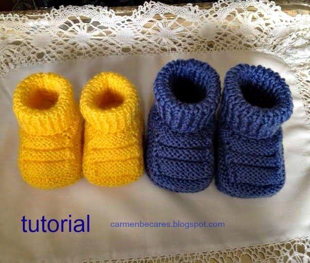 cf39bea7 Patucos de bebé en dos agujas - Patrones gratis