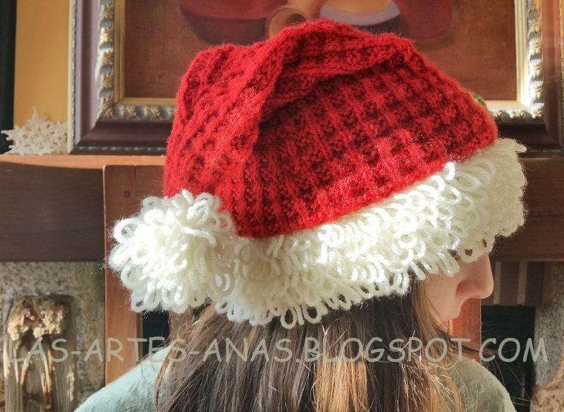 Gorro navideño tejido a 2 agujas - Patrones gratis