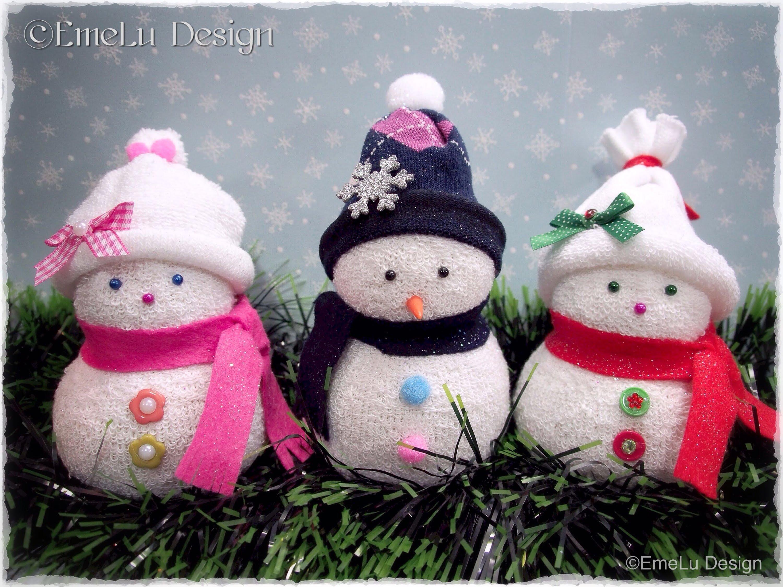 Muñeco de nieve con calcetines - Patrones gratis