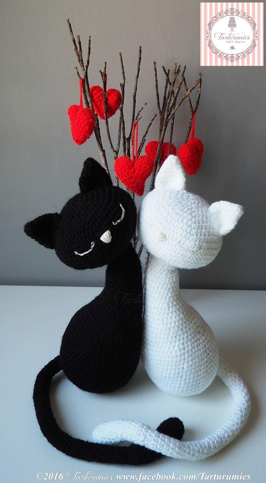 Pareja de gatos amigurumi para el d?a de los enamorados ...