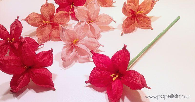Flor con papel de seda - Patrones gratis