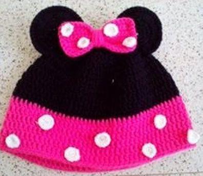 gorro mini mouse crochet