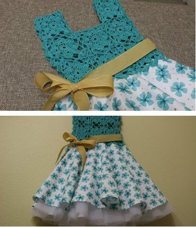 2295d2160 Vestido Circular con Blusa Tejida a crochet para niña - Patrones gratis