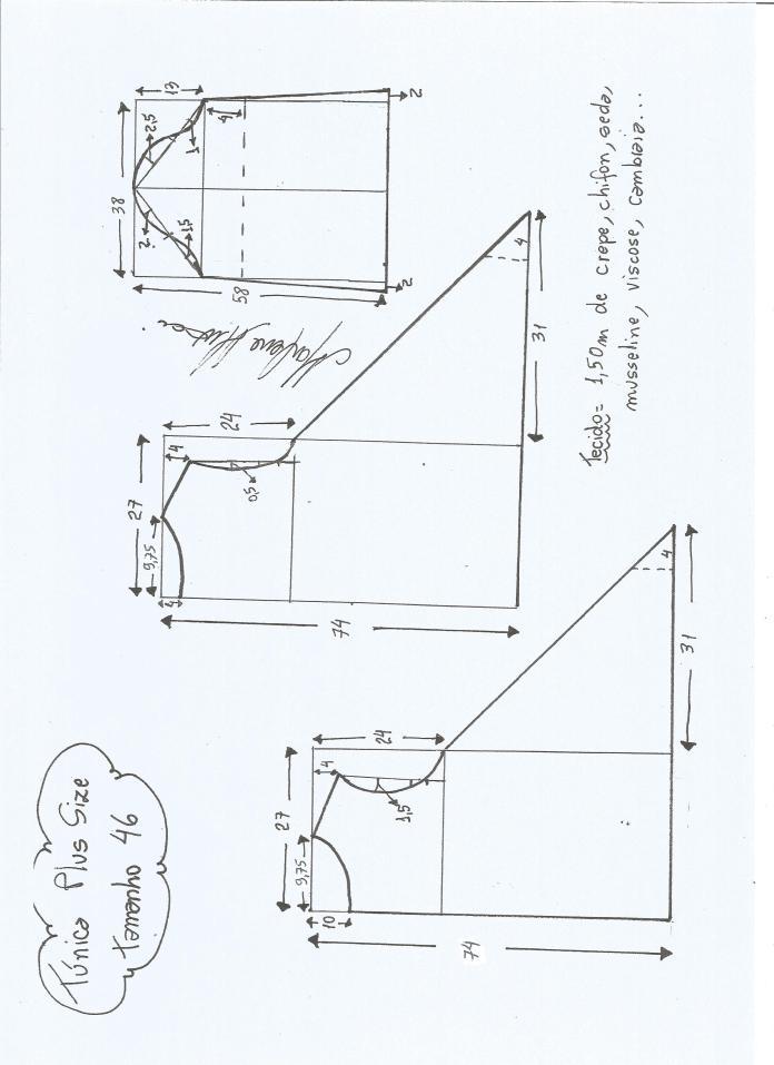 Túnica tallas grandes - Patrones gratis