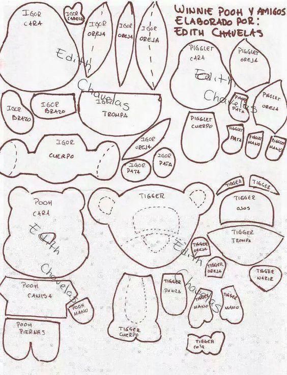 Winnie de pooh y sus amigos en fieltro - Patrones gratis