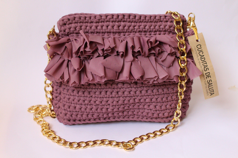 Bolso de mano paso a paso patrones gratis for Bolso crochet trapillo