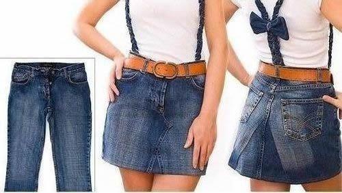 como hacer falda vaquera con un pantalon
