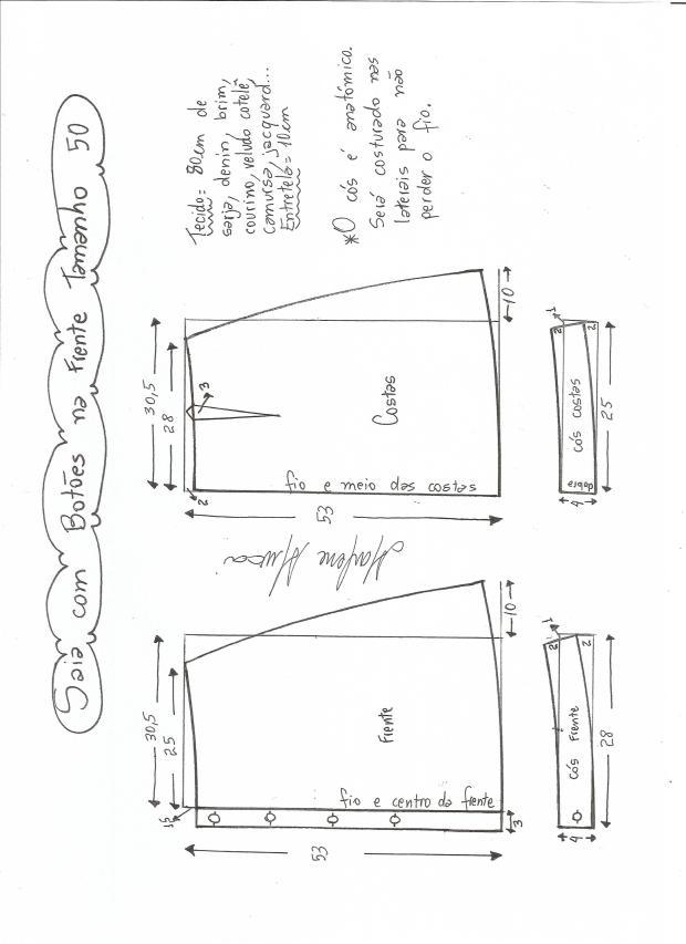 Patrones de falda campana con botones - Patrones gratis