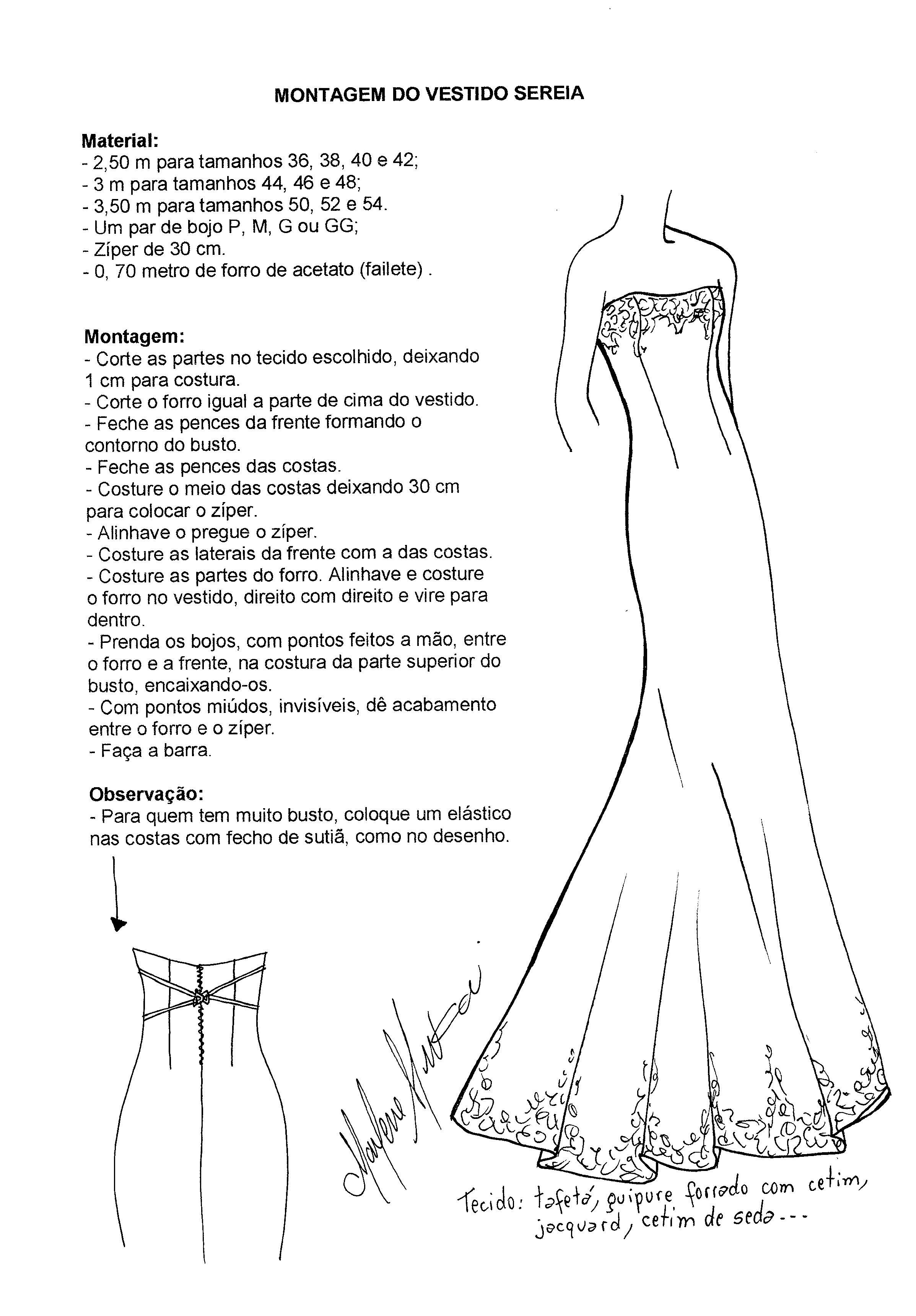 Molde para vestido de novia corte sirena