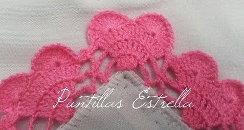 Puntilla a crochet de corazones - Patrones gratis