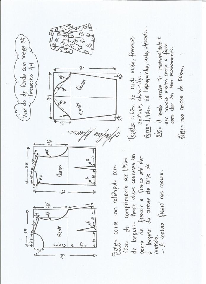 Patrón de vestido manga tres cuartos - Patrones gratis