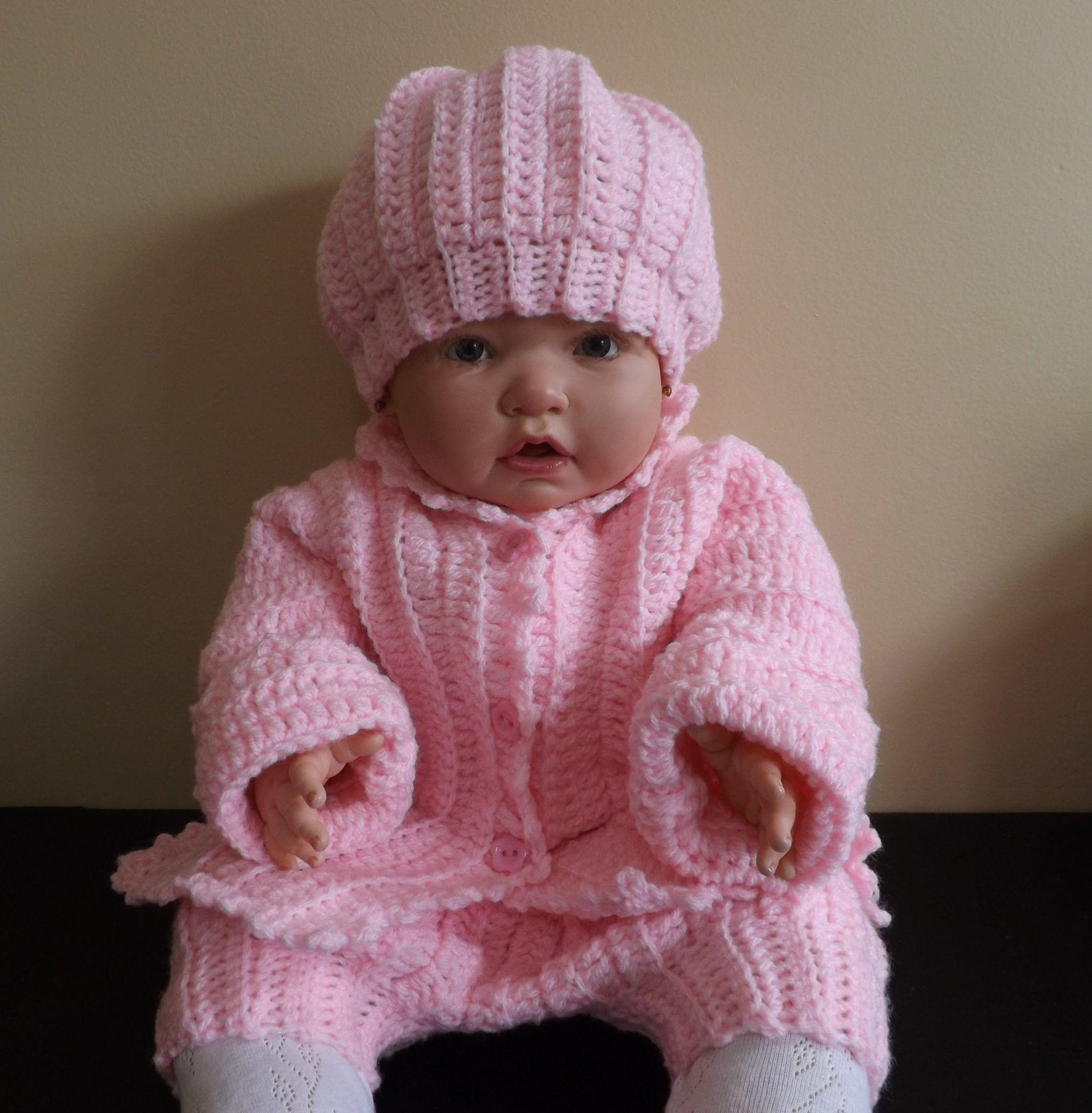 Conjunto a crochet para bebe - Patrones gratis