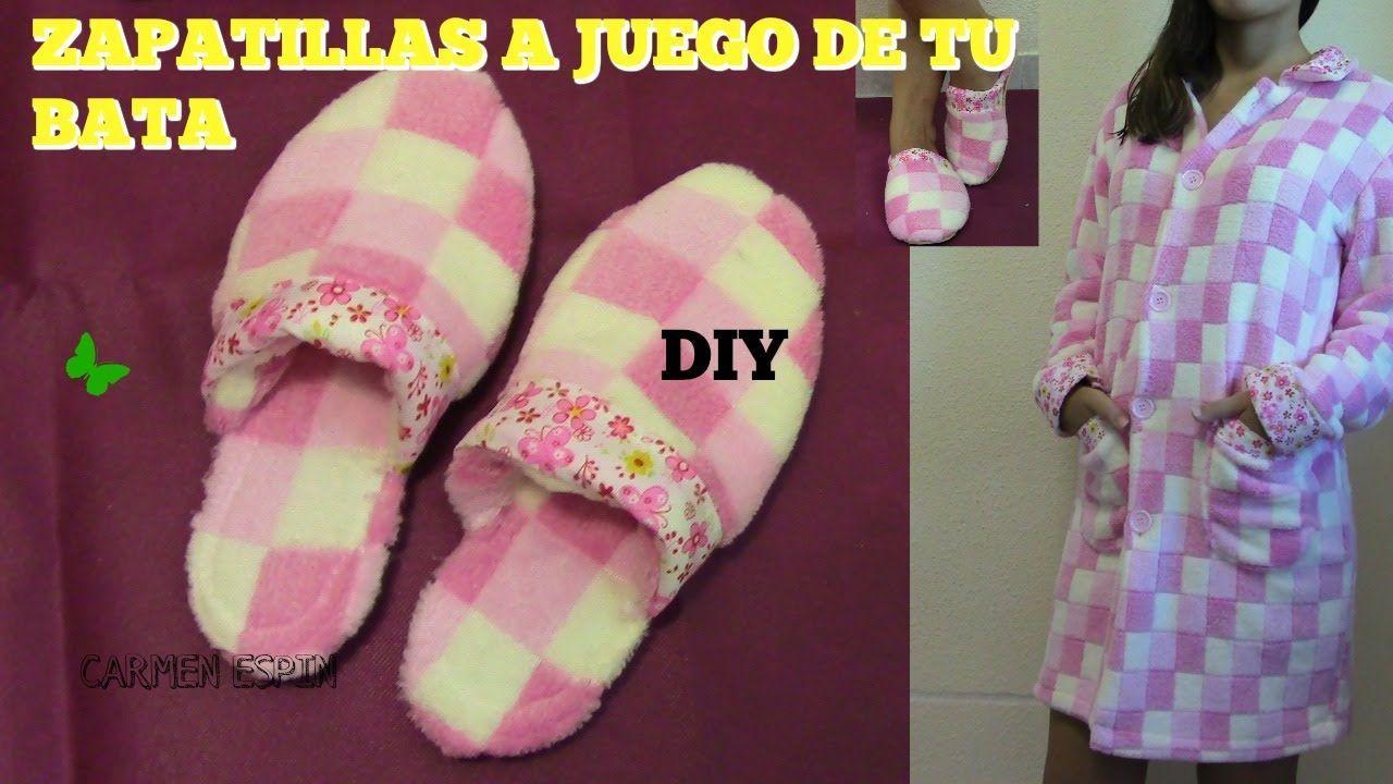 0127b150d DIY para hacer unas bonitas zapatillas de estar por casa. Estas zapatillas  hace juego con el DIY de la bata para estar por casa. Las zapatillas se  hacen con ...