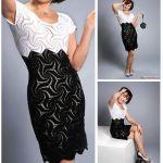 Vestido a crochet blanco y negro