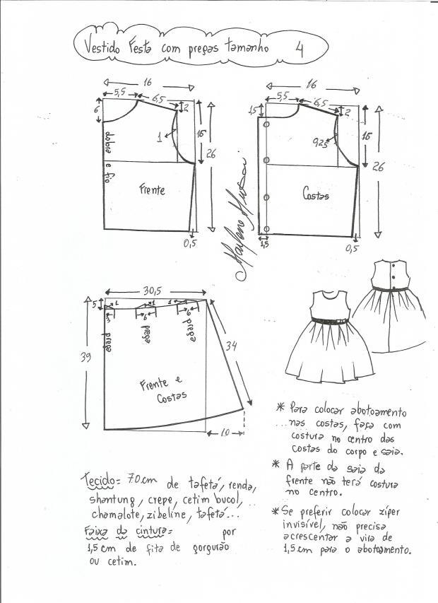 5907792f3 Patrón vestido de fiesta para niña con la falda plisada - Patrones ...