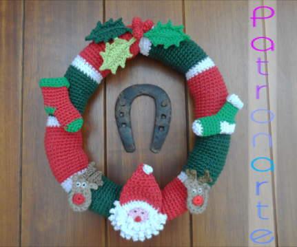 Corona para Navidad de Crochet Patrones gratis