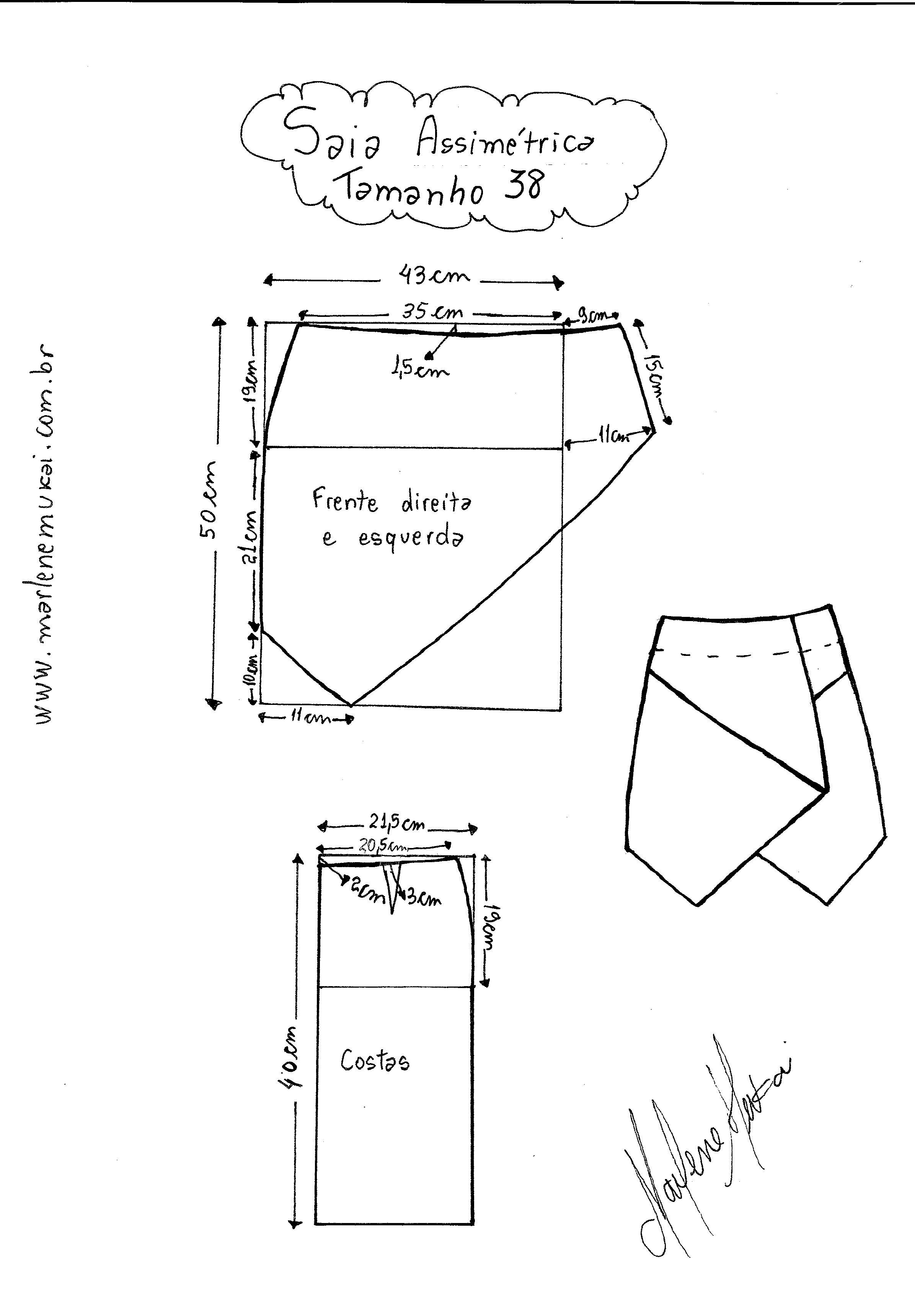dd361f895 Patrón falda asimétrica - Patrones gratis