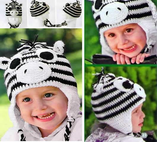 62ea18906 Patrón para tejer un bonito gorro de cebra a crochet para niños.