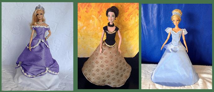 DIY vestidos de princesas para muñecas Barbie - Patrones gratis