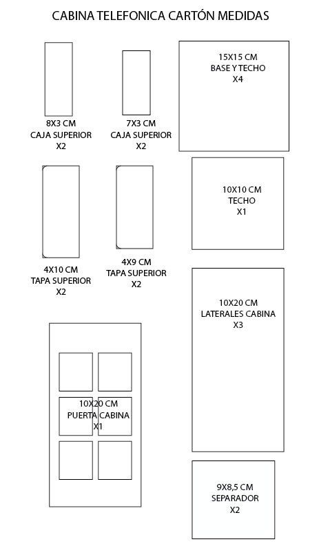 DIY Organizador cabina telefónica de cartón - Patrones gratis