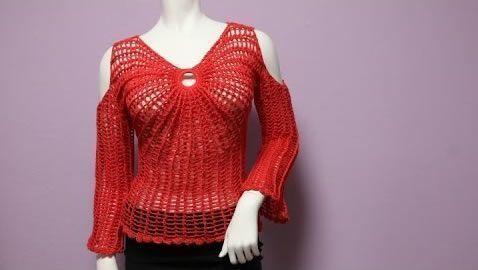 367126b6a DIY Blusa Mariposa sin Hombros a Crochet - Patrones gratis